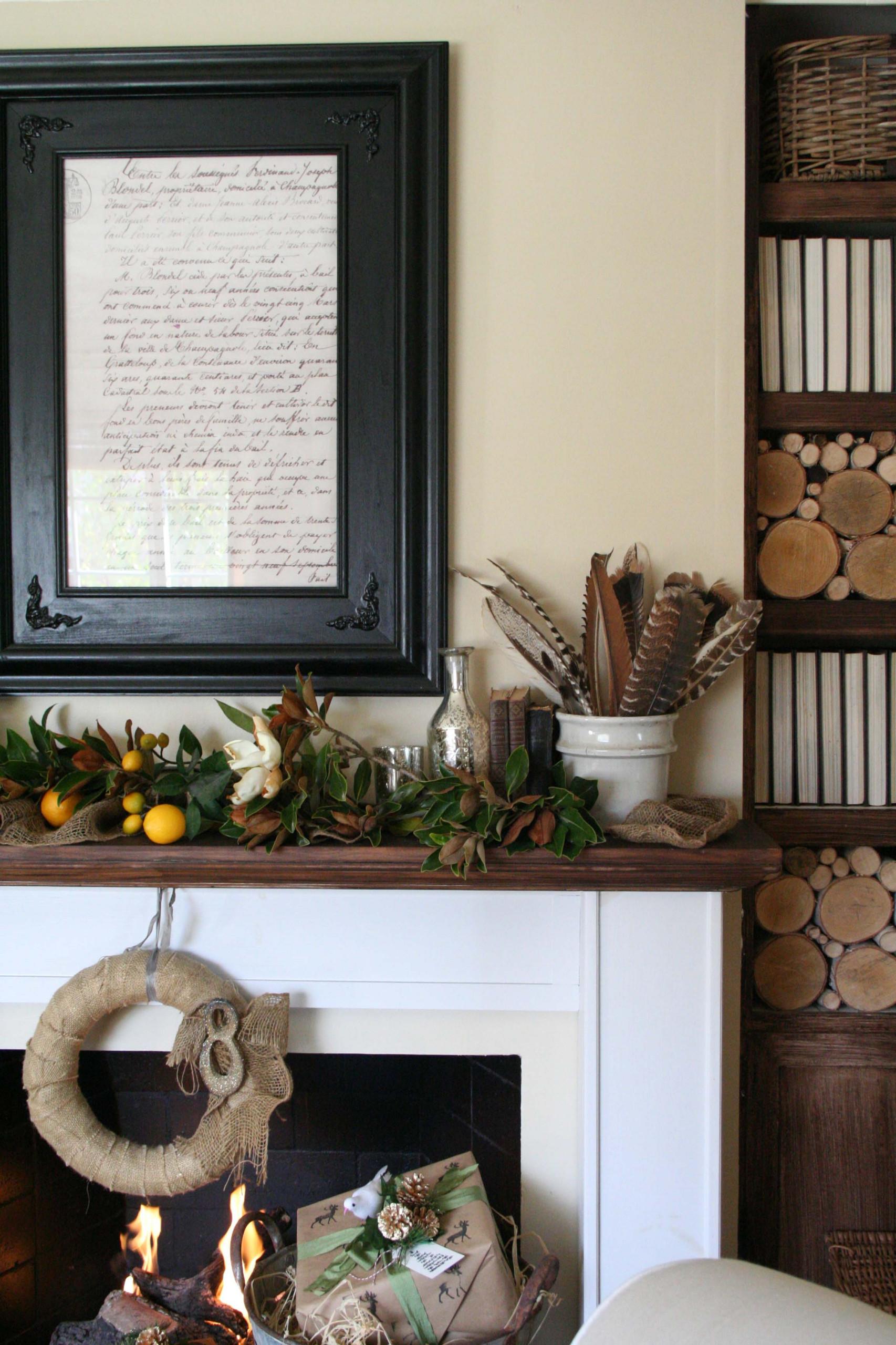 Fall Inspired Holiday Mantel 2014