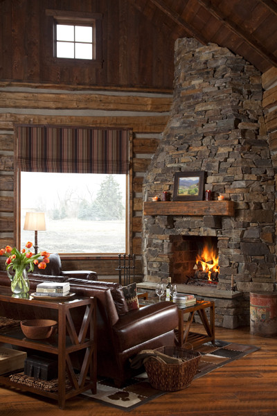 Family Cabin Retreat rustic-living-room