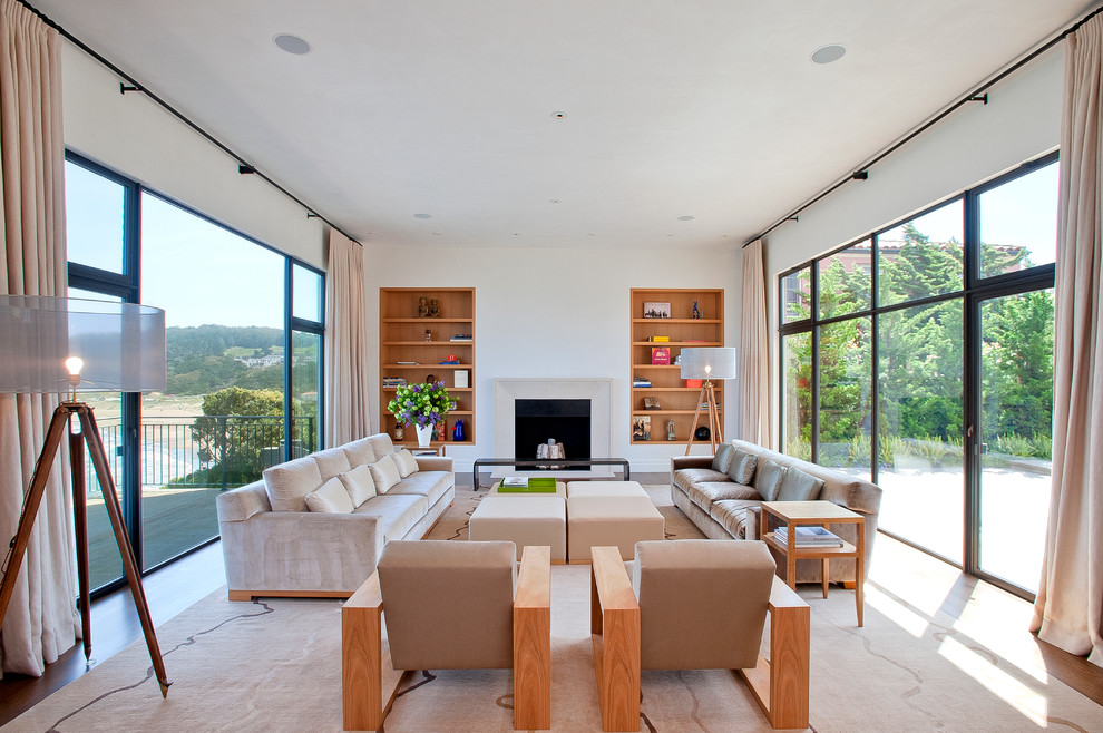 Living room - large contemporary living room idea in San Francisco with white walls