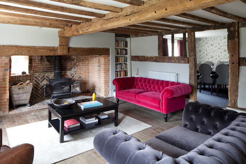 【Houzz】ソファで考える、大人っぽくハイセンスなピンクの使い方 4番目の画像