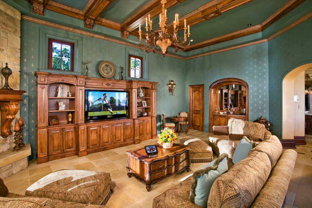 Family Living Room With Wood Trim Moulding