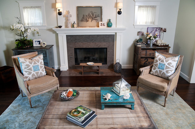 Family Relaxed Style House Rustic Living Room Los