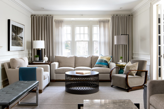 Family residence forest hill transitional living room - Houzz window treatments living room ...