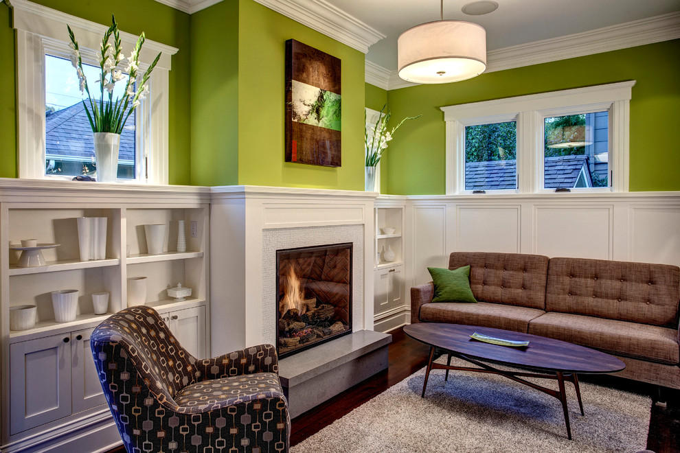 Example of an arts and crafts living room design in Seattle with a standard fireplace and a tile fireplace