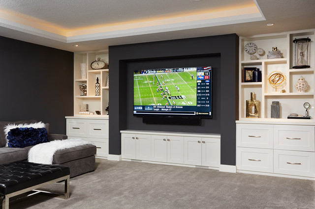 Family Room Custom Built TV wall - Transitional - Living Room - Minneapolis - by R|House Design ...