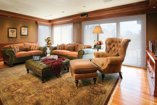Family room with hidden projector in molding traditional living room new york by for Hiding a projector in living room