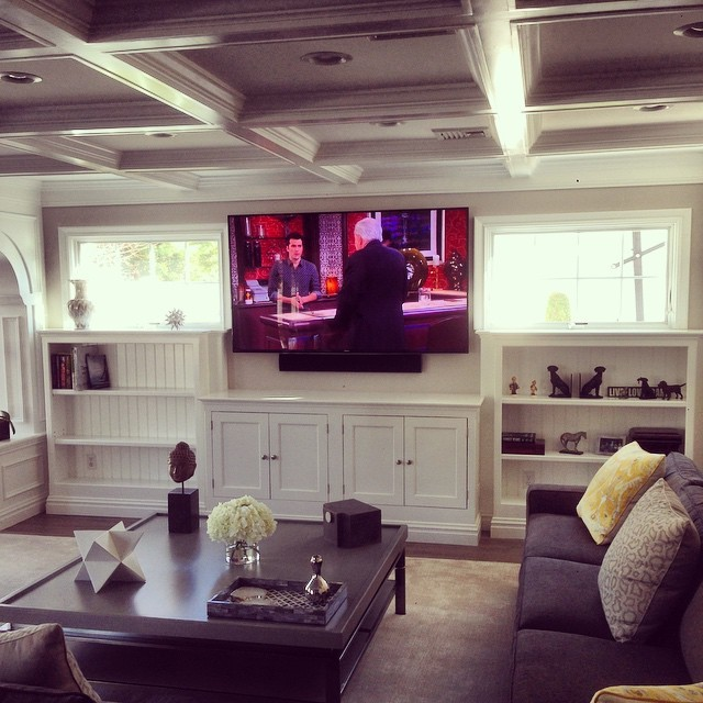 Family Room With Sound Bar And Inceiling Speakers Eclectic Living Room