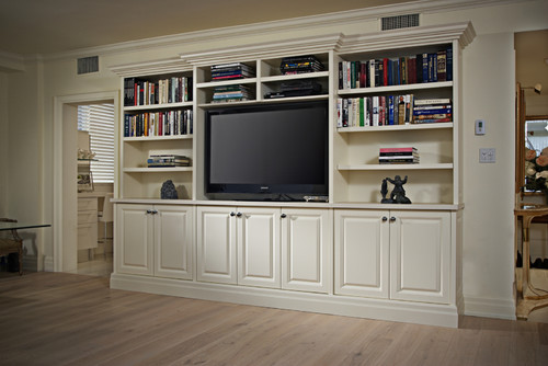 Family Room Antique White Built-In by Space Solutions on Houzz