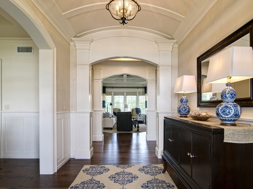 ... Hall, Foyer Design Ideas U0026 Photos. Traditional Entry With Buffet Table  And Blue White Accents