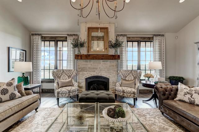 Living room - farmhouse living room idea in Oklahoma City