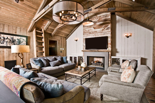 3 rustic living rooms we 39 d like to cozy up in for Industrial farmhouse family room