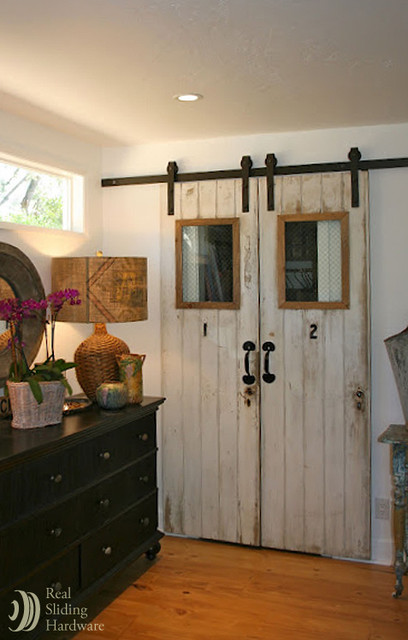 Reclaimed Barn Doors On Living Space Farmhouse Living