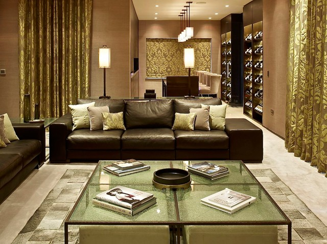 Merveilleux Inspiration For A Contemporary Open Concept Living Room Remodel In London  With Beige Walls And No