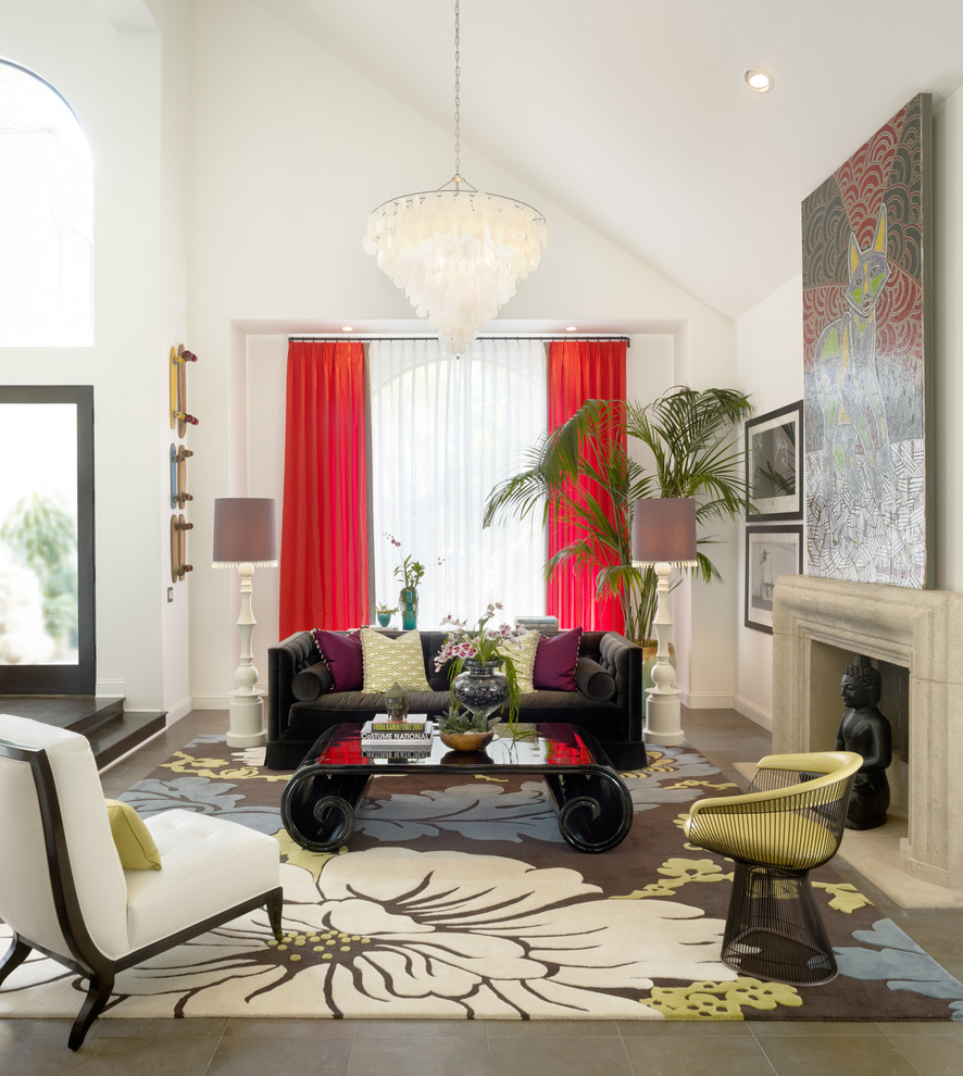 Trendy living room photo in Orange County with white walls and a standard fireplace