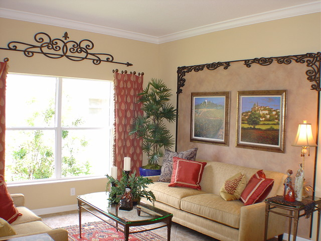 Faux Iron Ceiling And Wall Decor Traditional Living