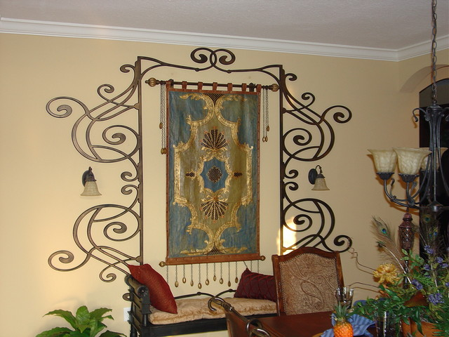 faux iron ceiling and wall decor