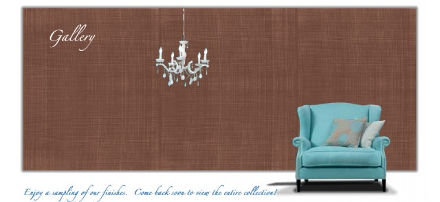 Faux Linen Gallery - Chocolate + Robin Blue + Chandelier eclectic-living-room