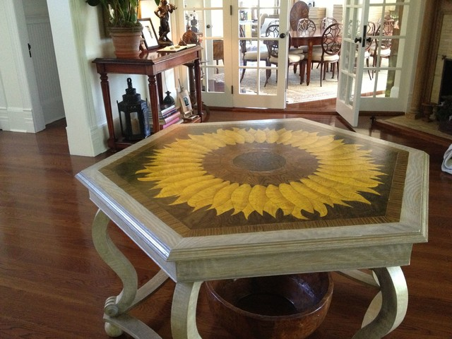 Faux painted wood inlay table top faux limed oak for 12x12 living room rugs