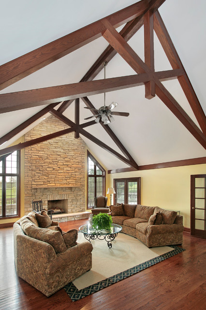 Faux Scissor Truss Traditional Living Room Chicago