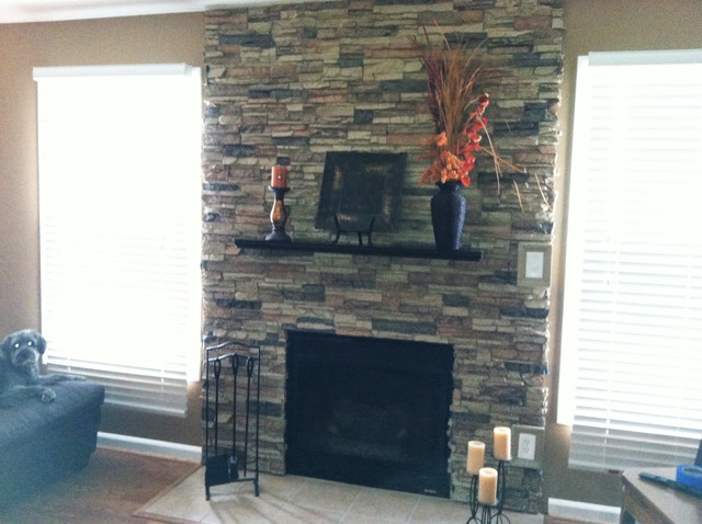 Faux Stone Accent Walls Traditional Living Room