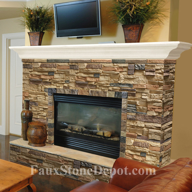 Faux Stone Fireplaces Traditional Living Room Miami