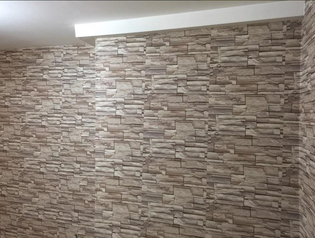 Faux Stone Travertine Wallpaper Contemporary Living