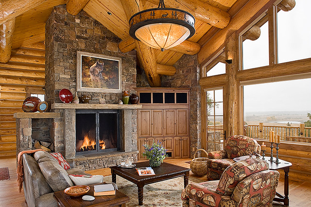 Fayette Ranch; Jackson , WY traditional-living-room