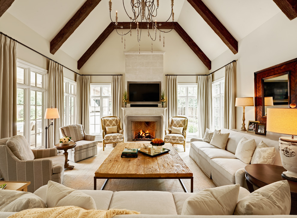 Living room - large traditional living room idea in Charlotte with white walls