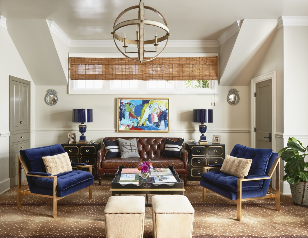 Inspiration for a timeless carpeted living room remodel in Charlotte with white walls