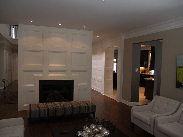 Feature Wall Coffered Ceiling Traditional Living