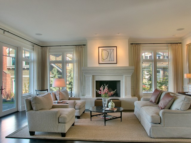 Incroyable Inspiration For A Large Contemporary Formal Living Room Remodel In Seattle  With A Standard Fireplace And