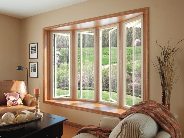 Fiberglass bow window contemporary living room san for Contemporary bay window designs