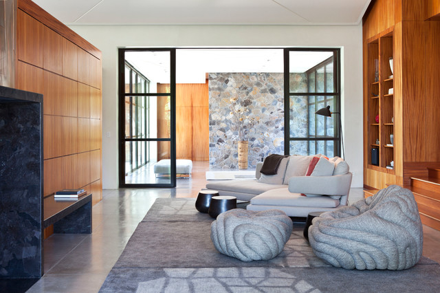 Fieldstone House, Sonoma contemporary-living-room