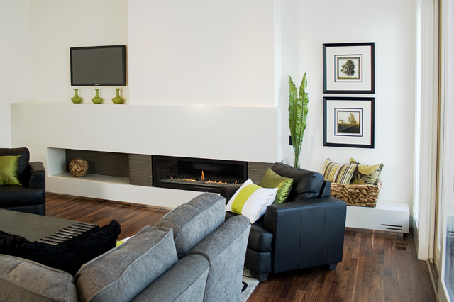 Fifth Element Concrete Splash And Fireplace Surround Modern Living Room Calgary By
