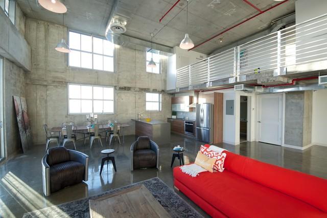 Filling Station Lofts Industrial Living Room Miami