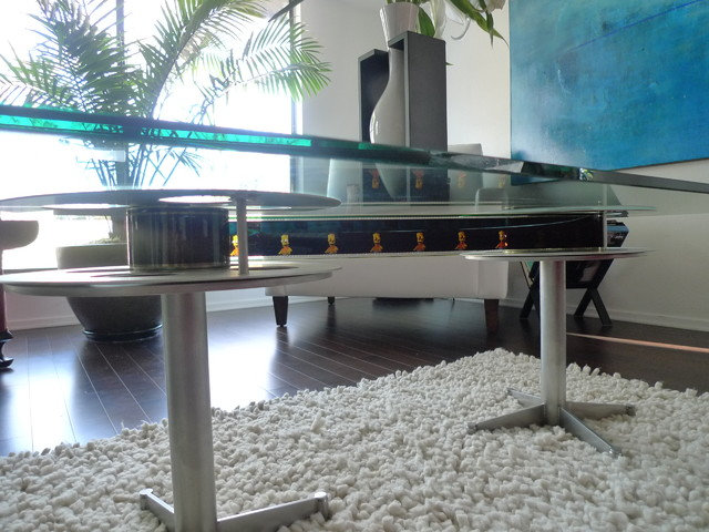 Film Reel Table Eclectic Living Room Baltimore