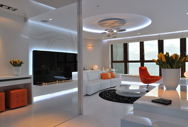 Fire Line Automatic at the Sea Tower in Gdynia - Contemporary - Living Room - Other - by Planika Fires