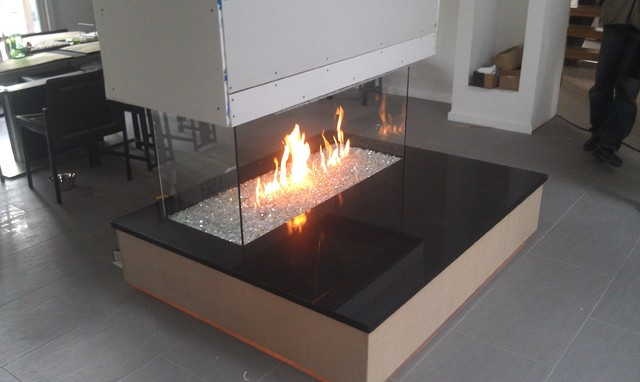 Fireglass fireplace contemporary-indoor-fireplaces