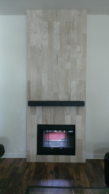 Fireplace 6 X 24 Travertine Plank Tile Contemporary