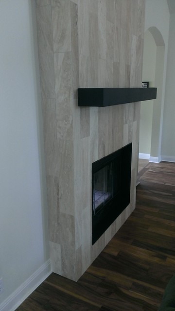 Fireplace 6 quot x 24 quot travertine plank tile contemporary living room austin by custom