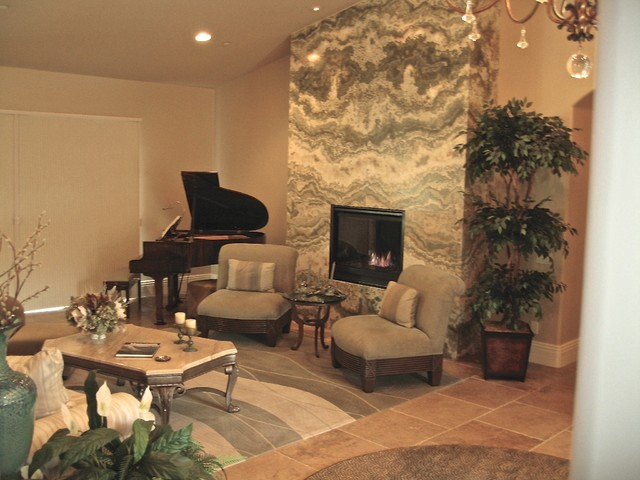 Fireplace After Onyx Feature Wall Contemporary Living Room Orange County By Katherine