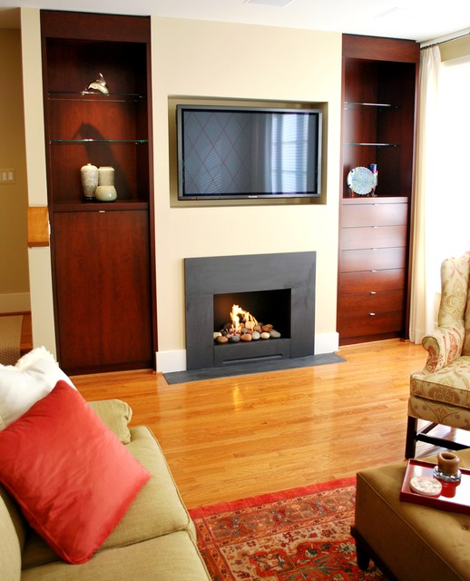 Fireplace Custom Built Ins Contemporary Living Room Dc Metro By Harry Braswell Inc