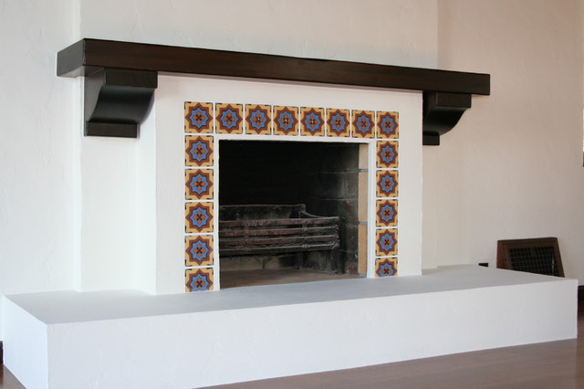 Fireplace and mantel mediterranean-living-room