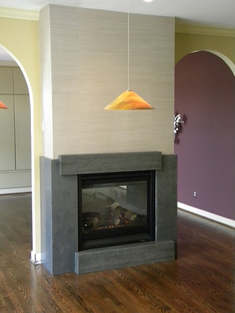 Fireplace Between Contemporary Living Room