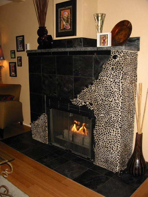 Fireplace face remodels that rock! - Contemporary - Living Room ...