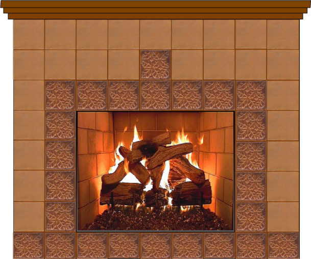 Fireplace idea- gold & brown tiles traditional-living-room