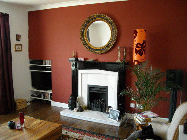 Fireplace eclectic living room london - Feature wall ideas living room with fireplace ...