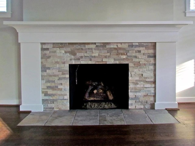Fireplace Ledgestone Beachwalktraditional Living Room Detroit