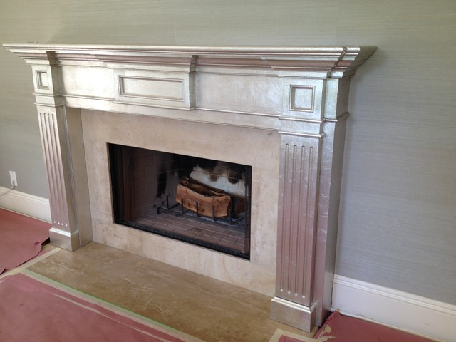 """Fireplace makeover, dark wood """"before"""", silver leaf """"after"""" - Traditional - Living Room - los ..."""