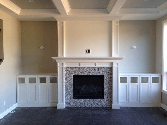 Fireplace mantel with wall unit
